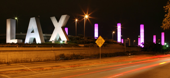 Los Angeles airport : The famous LAX sign at night