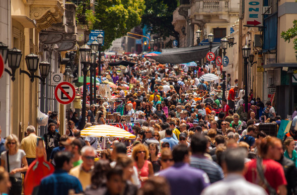 20,000 people crowd into the streets of San Telmo for one of Buenos Aires' biggest flea markets