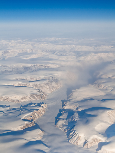 An aerial view of Auyuittuq National Park