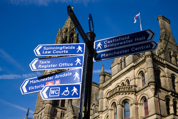 The Manchester Town Hall at the city's crossroads. Picture: Getty Images