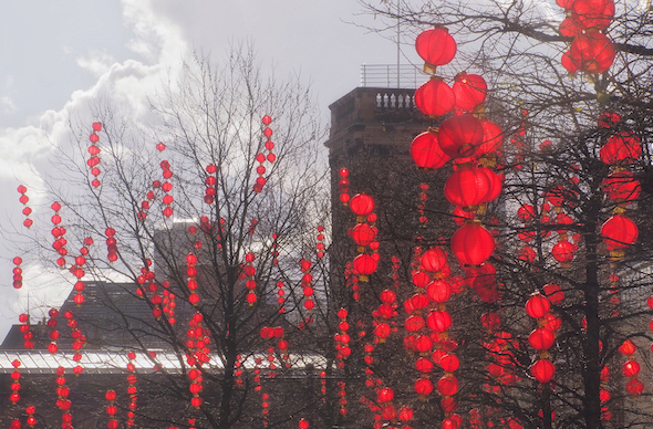 Chinese New Year balloons brighten St Anne's Square in Manchester.
