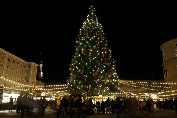 A giant Christmas tree lights up a market square in Salzburg, Austria.