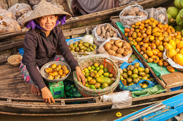 A woman sells fruit and vegetables from a boat along the Mekong.