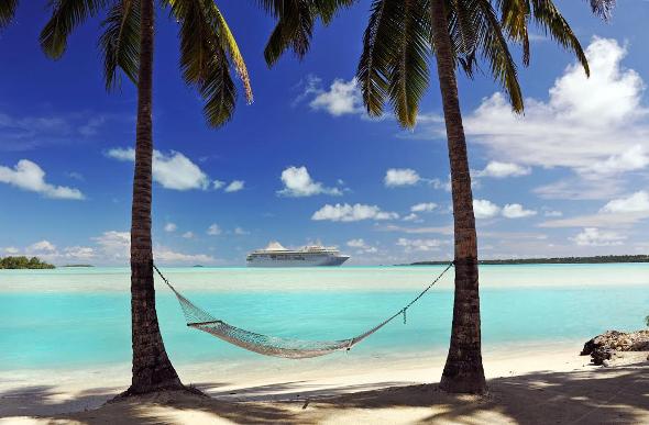 Fiji beach and hammock at dusk.