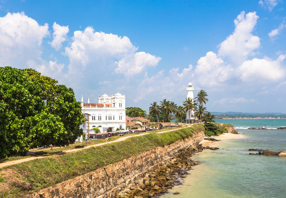 Galle Fort colonial buildings and lighthouse