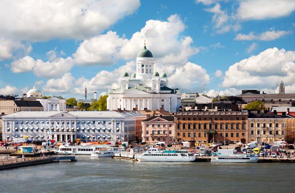River boats docked at Helsinki