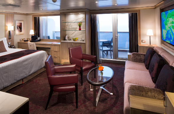 A spacious cruise cabin with balcony