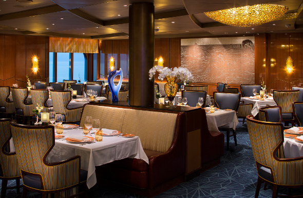 the elegantly furnished Pinnacle Grill on Holland America Line's ms Koningsdam