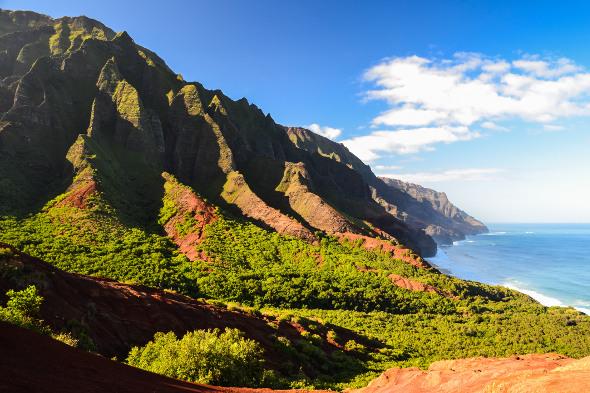 Kalalau trail cliffs into sea hawaii