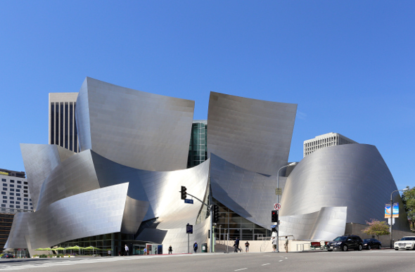 The outside of Walt Disney Concert Hall, a famous architectural landmark in Downtown LA