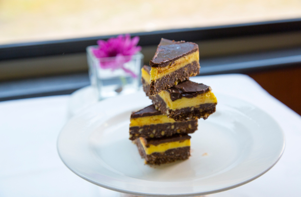 A stack of Nanaimo bars - an iconic sweet treat from British Columbia
