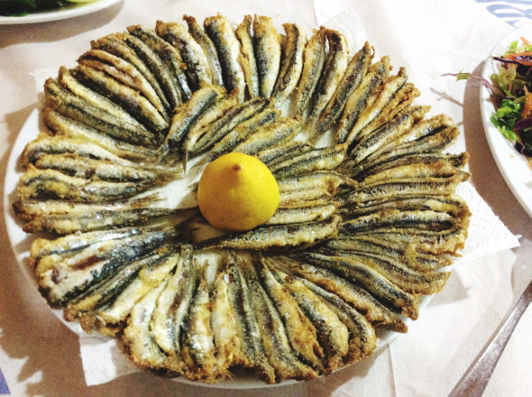 platter of fried sardines
