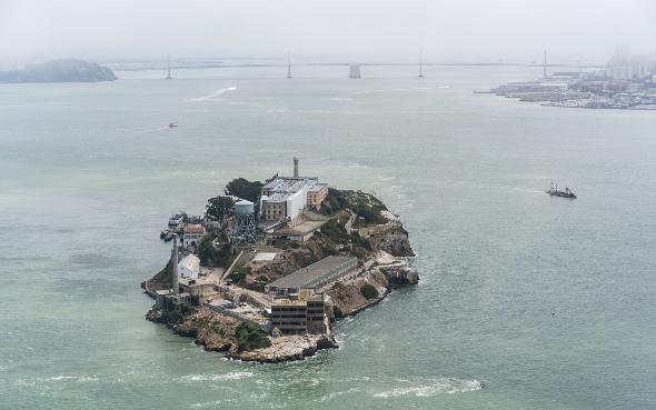 alcatraz island birds eye view