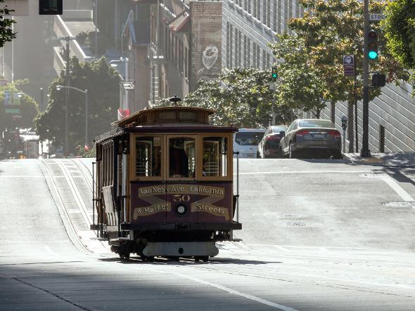 San Francisco tram going down a hill