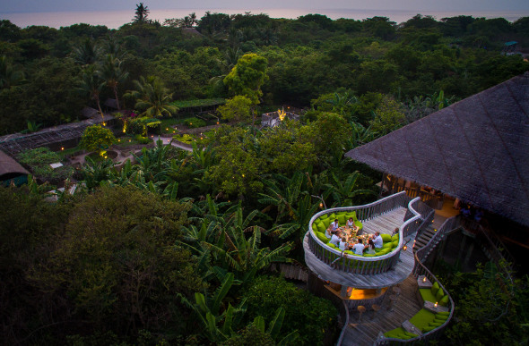 A panoramic view of Fresh in the Garden restaurant above the onsite gardens at Soneva Fushi