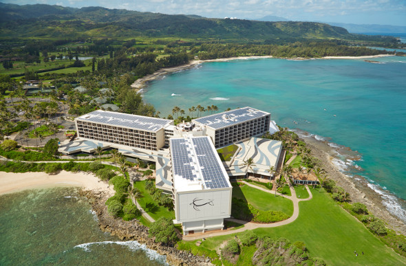 An aerial shot of Turtle Bay Resort shows the three wings of the hotel