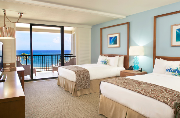 The rooms at Turtle Bay Resort have queen beds, ocean views and a balcony