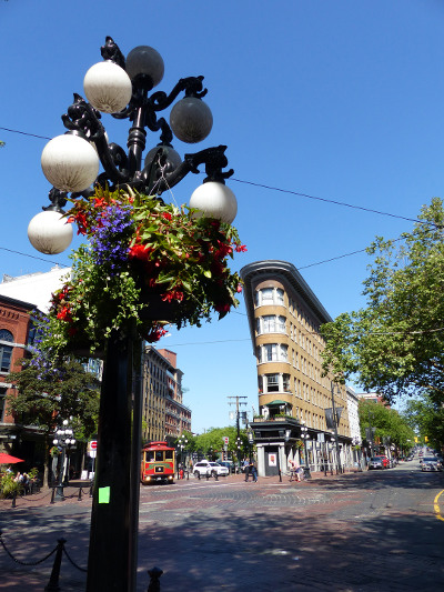 A streetscape with streetlight in Gastown