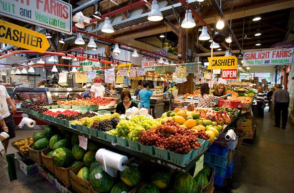 Interior shot of Granville Island Public Market