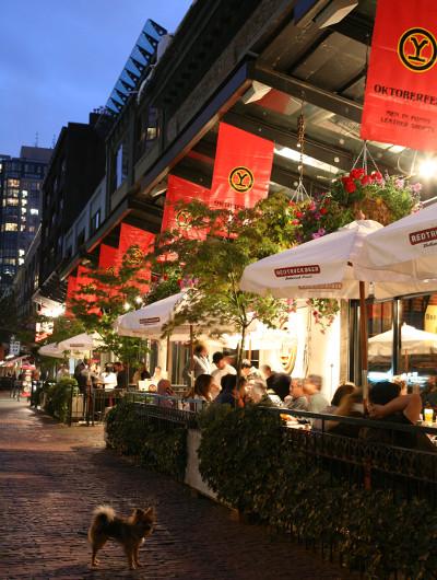 People enjoy patio dining in Yaletown, Vancouver