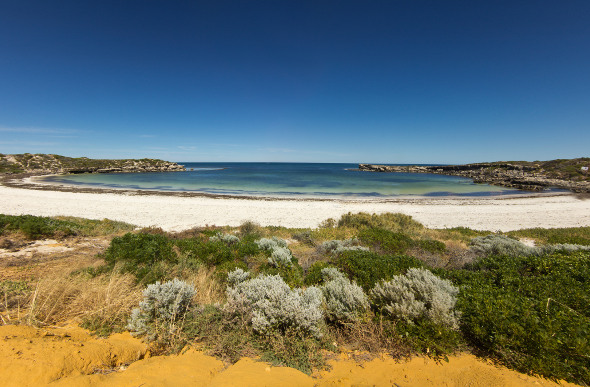 The beautiful basin of Dynamite Bay at Green Head in Western Australia.