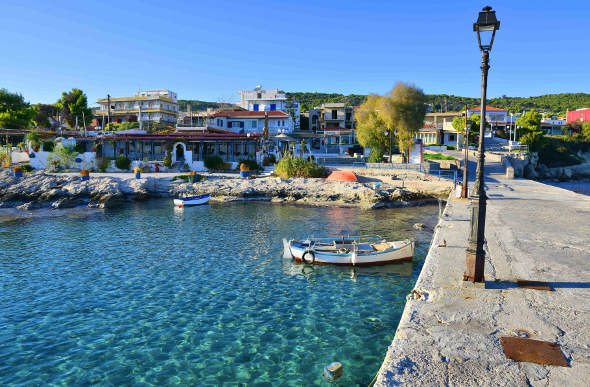 Aegina's harbour with clear, blue water