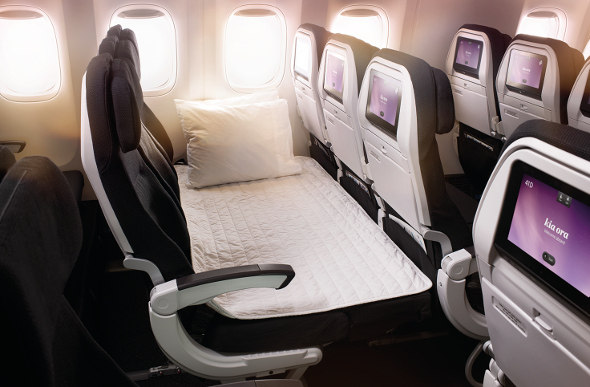 Air New Zealand's Skycouch in bed mode