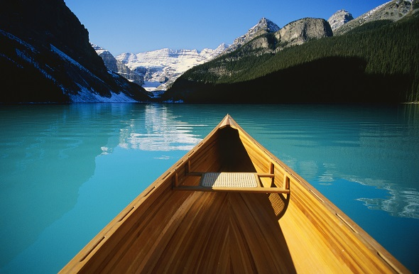 Canoe on Emerald Lake.