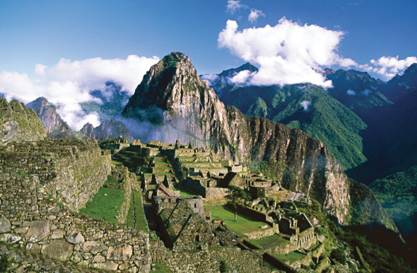 The ruins and mountains of Machu Picchu in South America