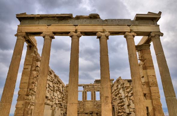 Tall pillars and walls of the Acropolis
