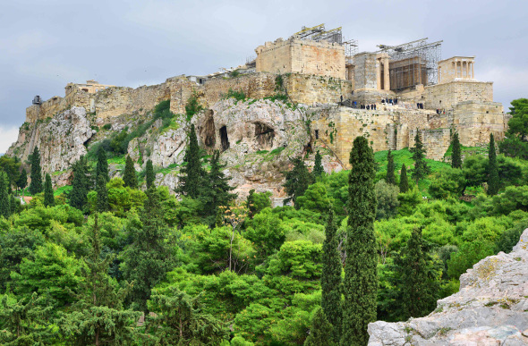 The Acropolis of Athens atop a rocky hilltop