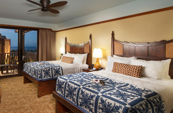 Two king-size beds in the Standard Room at Aulani, A Disney Resort & Spa