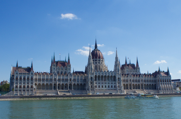 Hungarian Parliament Building in Budapest from the river