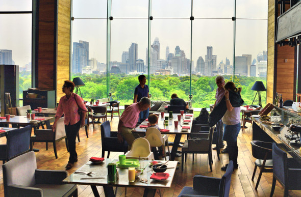 Views to die for at the SO Sofitel Bangkok Saturday brunch buffet.