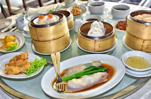 The delicious fare of the Millenium Hilton Bangkok's dim sum buffet.