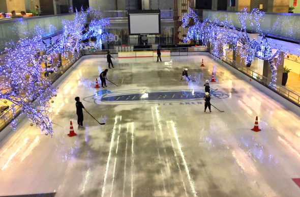 Ice skating is a great way to escape the heat in Bangkok, Thailand.