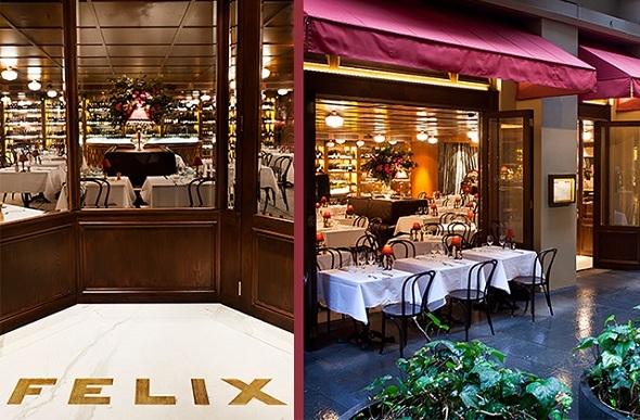 Outdoor dining at Felix Restaurant, Sydney.