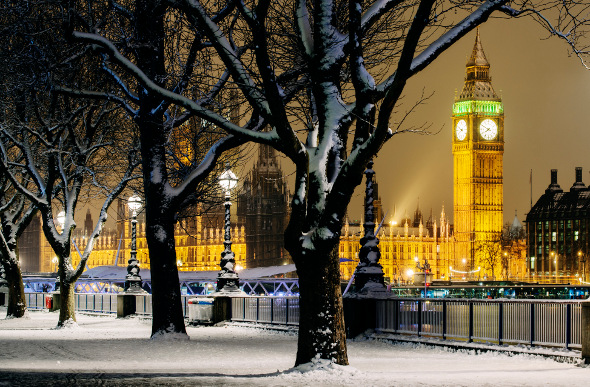 Big Ben in London with snow on the ground