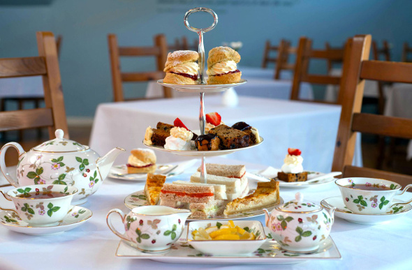 Afternoon tea is laid out with fine china at the Wedgwood Tea Room.