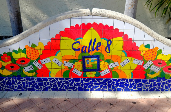 a mosaic street sigh for calle oucho