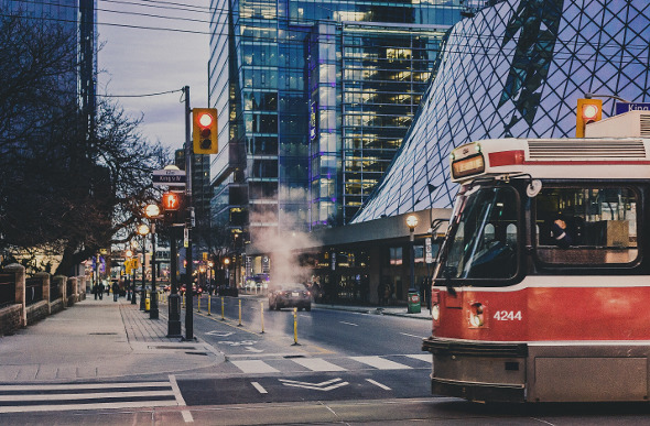 A streetcar in downtown Toronto, Canada.