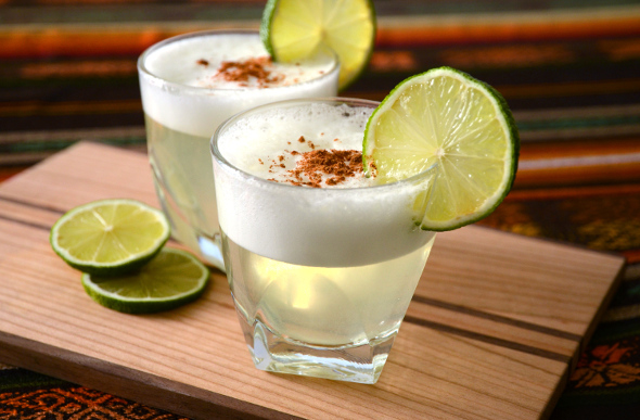 The pisco sour is Chile's national drink, consisting of pisco, a brandy-like liqueur, and lime.