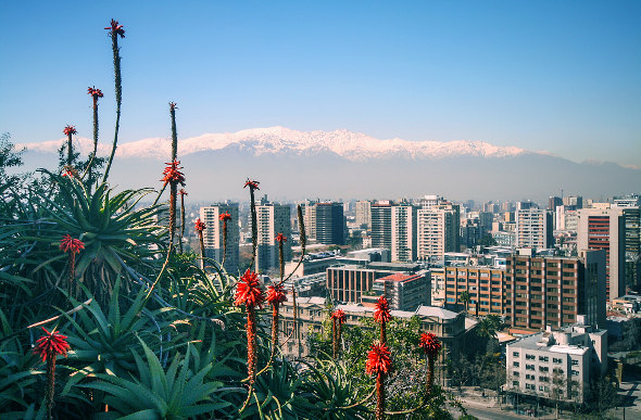 The Andes frame the city of Santiago in Chile.