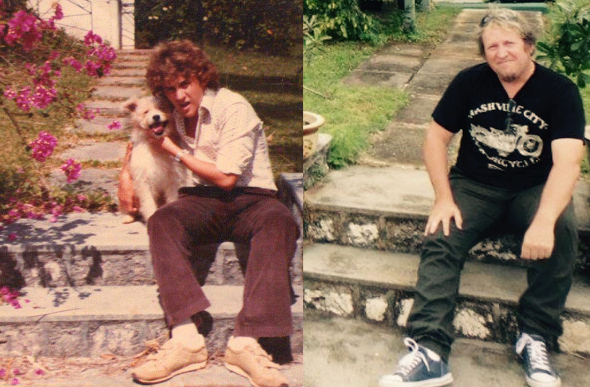 Carl Vogelsang as a young man on Christmas Island and upon his return 34 years later.