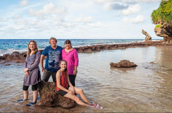 Carl Vogelsang with his family on Christmas Island.