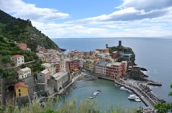 Pastel-coloured houses in Vernazza