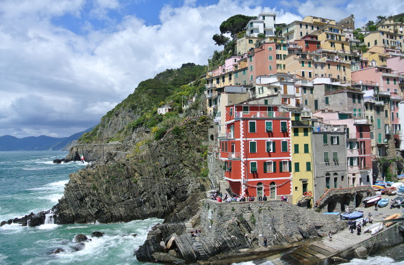Pastel-coloured houses on the cliffs at Riomaggiore