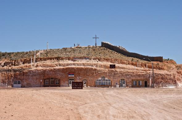 The Serbian Orthodox Church is cut into a hillside at Coober Pedy, South Australia.