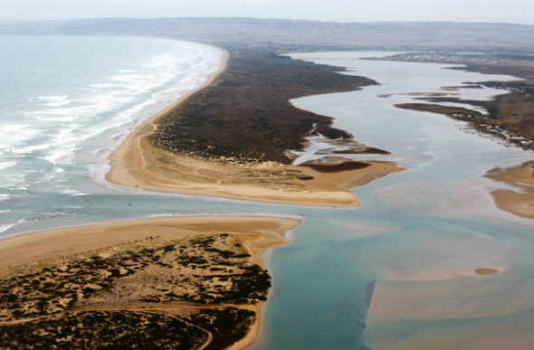 Green, yellow and blue Coorong coastline in South Australia