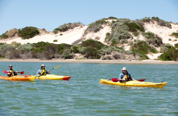People kayaking the Coorong in South Australia